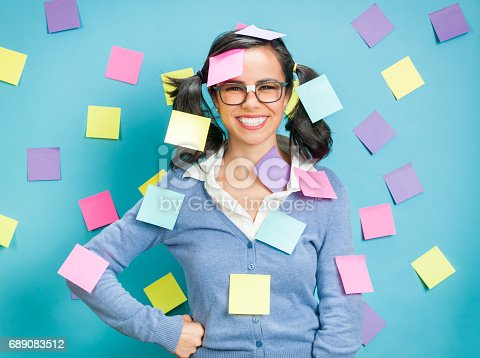 876629044istockphoto Young Hispanic Women Showing Emotional Expressions Coverd In Post-its 689083512