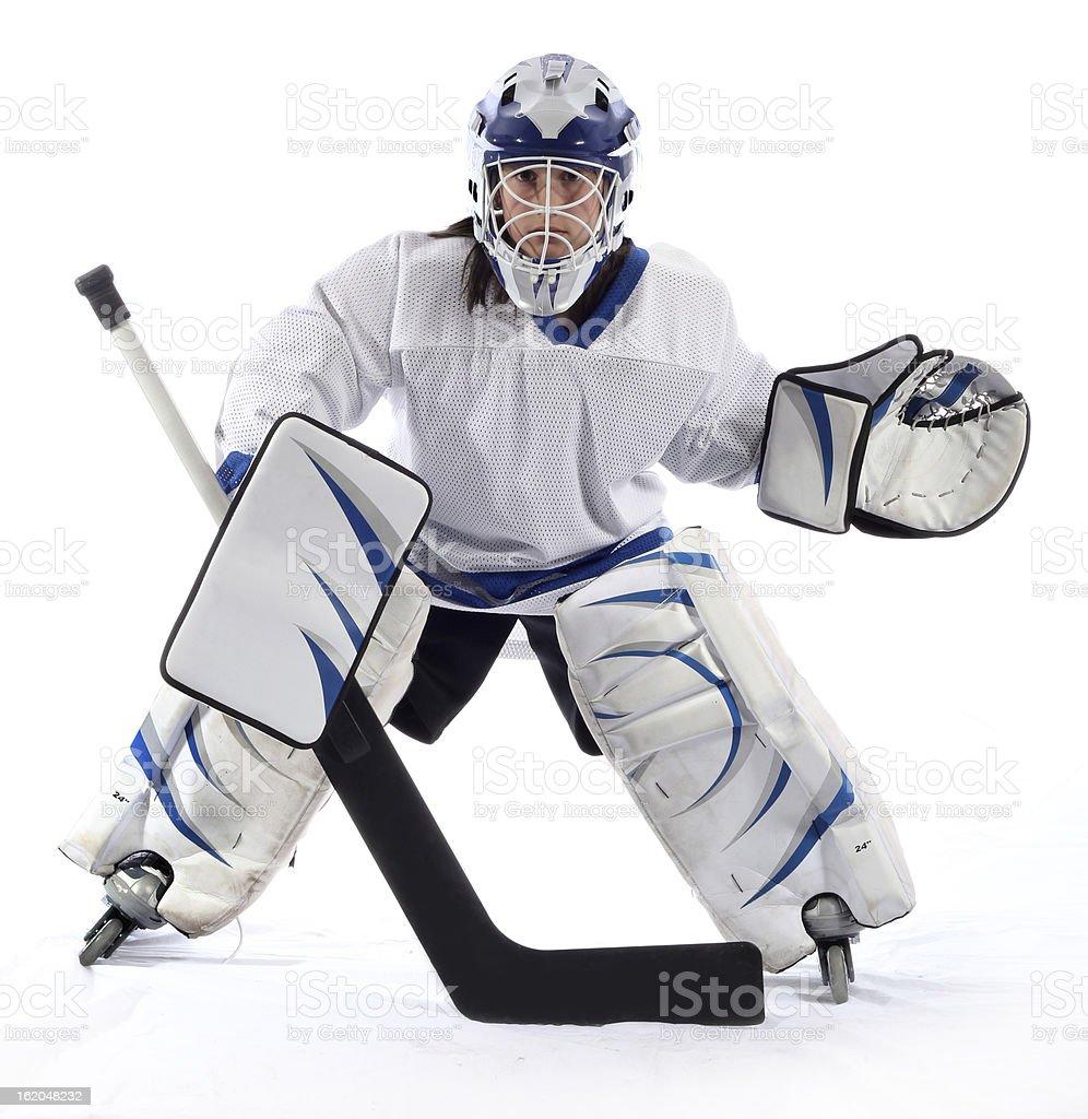 Young hockey goaltender stock photo