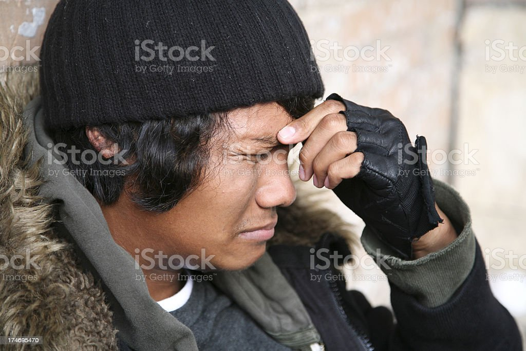 Young Homeless Man Crying About His Condition Stock Photo ...