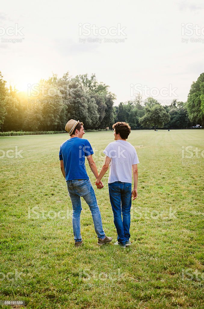 Young Homosexual Couple At The Park Together - Royalty-free 20-24 Years Stock Photo