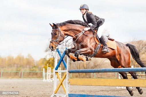 istock Young horseback sportsgirl jumping on show jumping 652754244