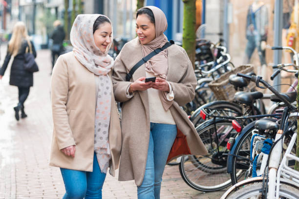 Young immigrant girls in Amsterdam stock photo