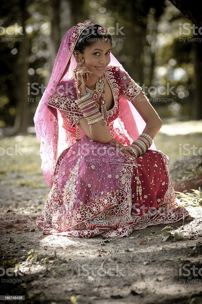 Young Indian Bride Wearing Traditional Gown Sitting In Garden Stock