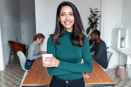 Shot of young indian business woman entrepreneur looking at camera in the office. In the background, her colleagues working.
