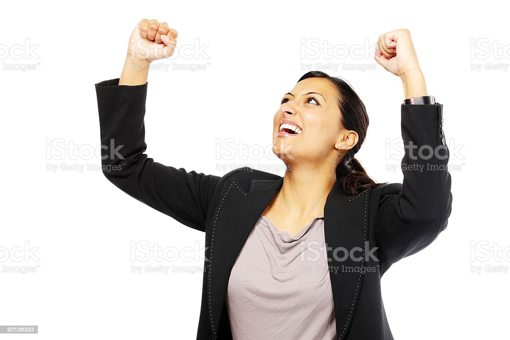 young Indian Businesswoman with  arms in the air on white royalty-free stock photo