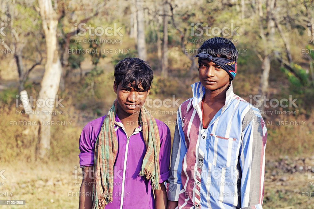 Young Indian mahouts in Nagarhole National park,Karnataka,India stock photo