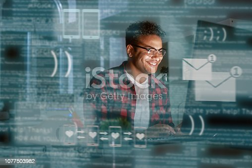 istock Young indian man received message from dating app 1077503982
