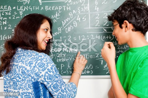 istock Young Indian Teacher explaining Mathematics problems to her student 182705222