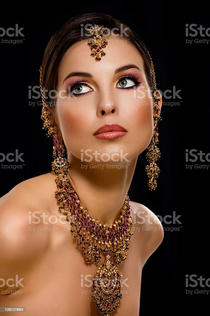Young Indian Woman in traditional jewelry royalty-free stock photo