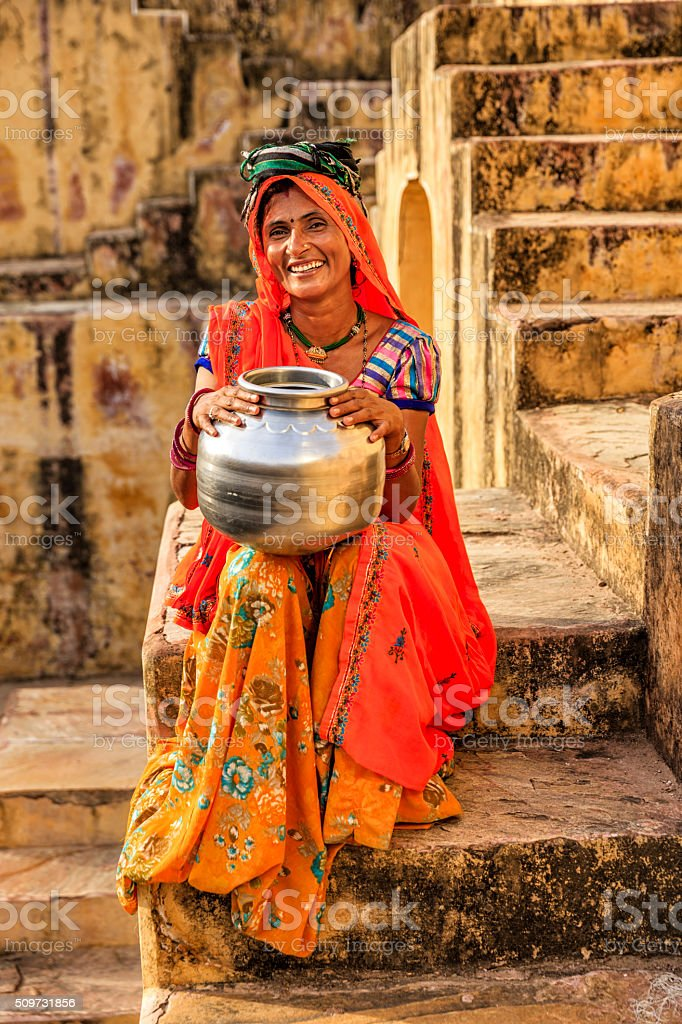 Young Indian woman in village near Jaipur, India stock photo