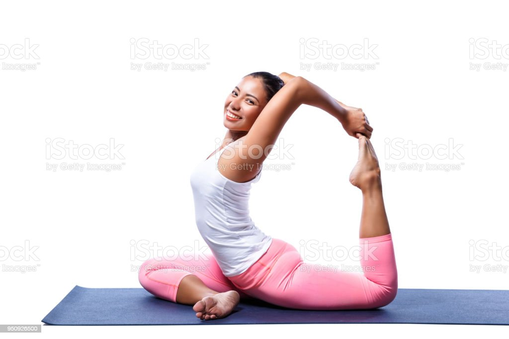 Young Indian Woman In Yoga Pose In White Clothes Isolated On White Background Stock Photo Download Image Now Istock