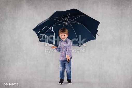 young insurance agent under umbrellas, protects your property