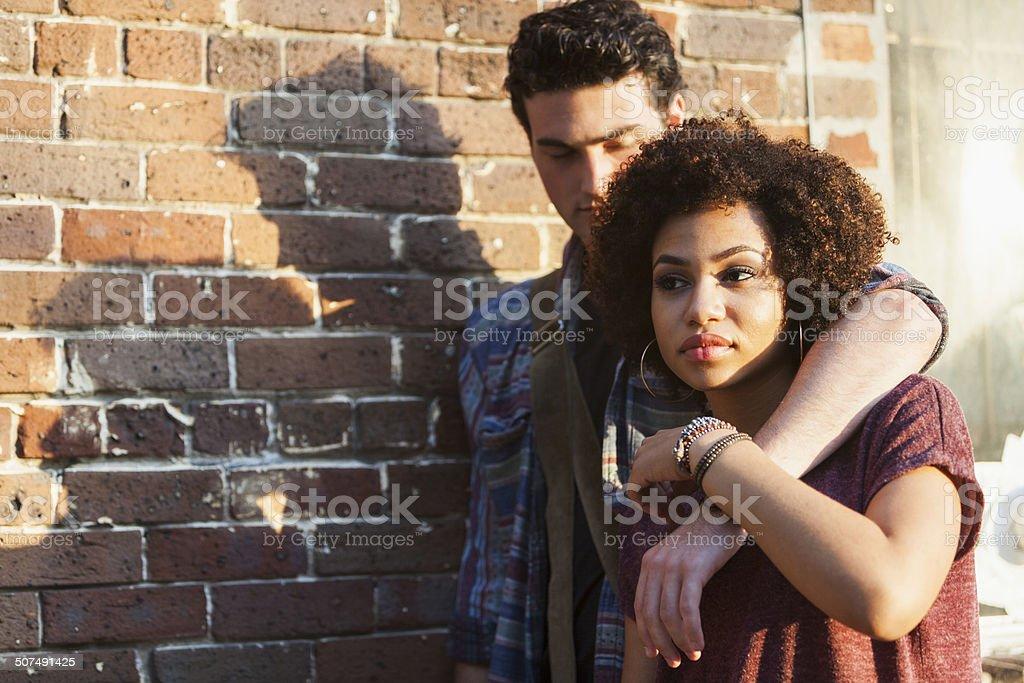 Young interracial couple stock photo