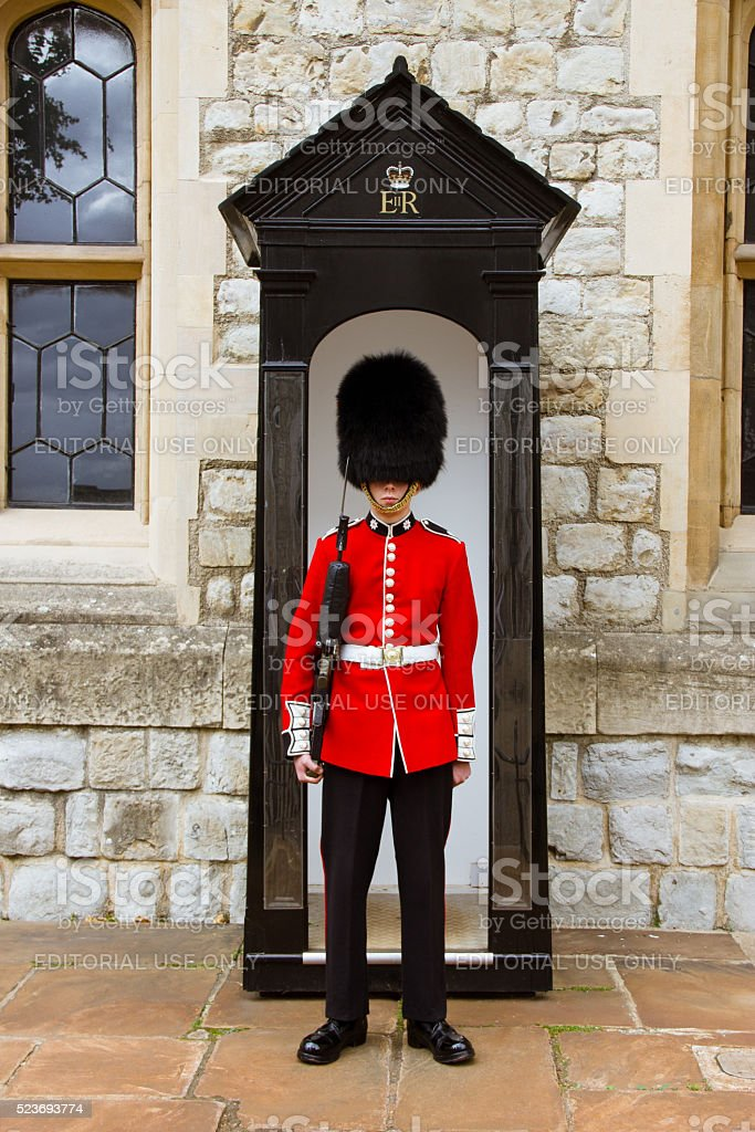 Young Irish Guard at the Tower of London stock photo