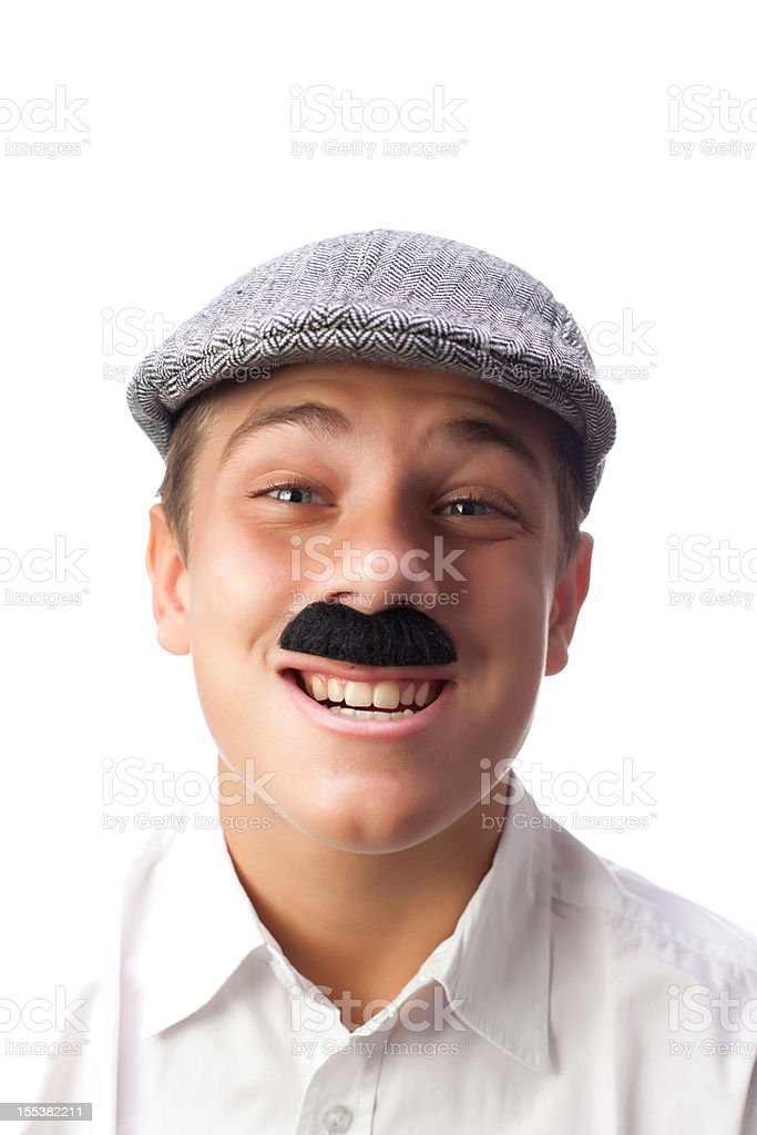 Young Italian Boy Making a Weird Expression with Mustaches royalty-free stock photo