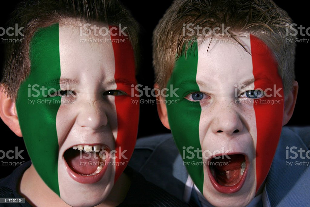 Young Italian Football/Rugby Fans stock photo