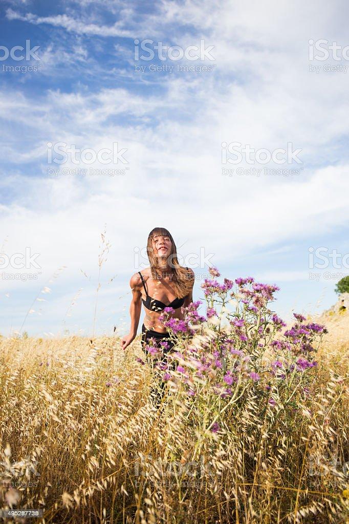 Young italian woman in countryside stock photo