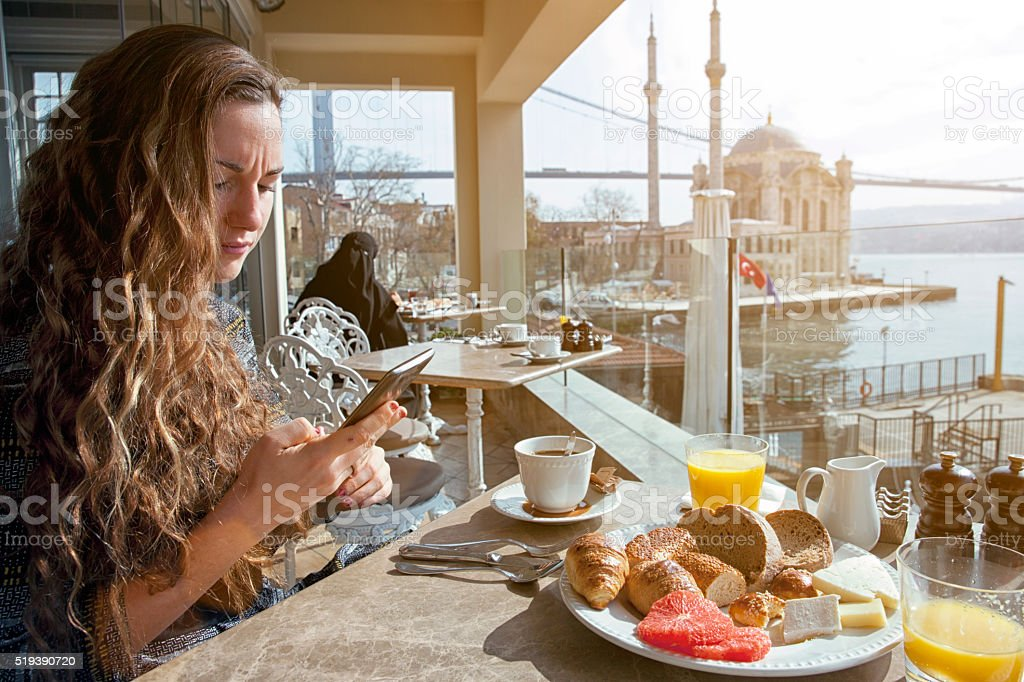 Young italian woman in Istanbul. stock photo