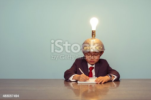 480585411 istock photo Young Japanese Business Boy Wearing Lit Up Thinking Cap 483057494