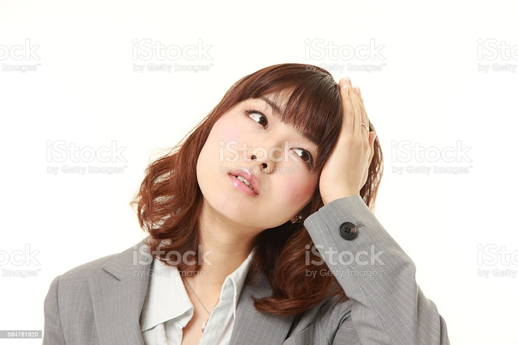 young Japanese businesswoman has lost her memory stock photo