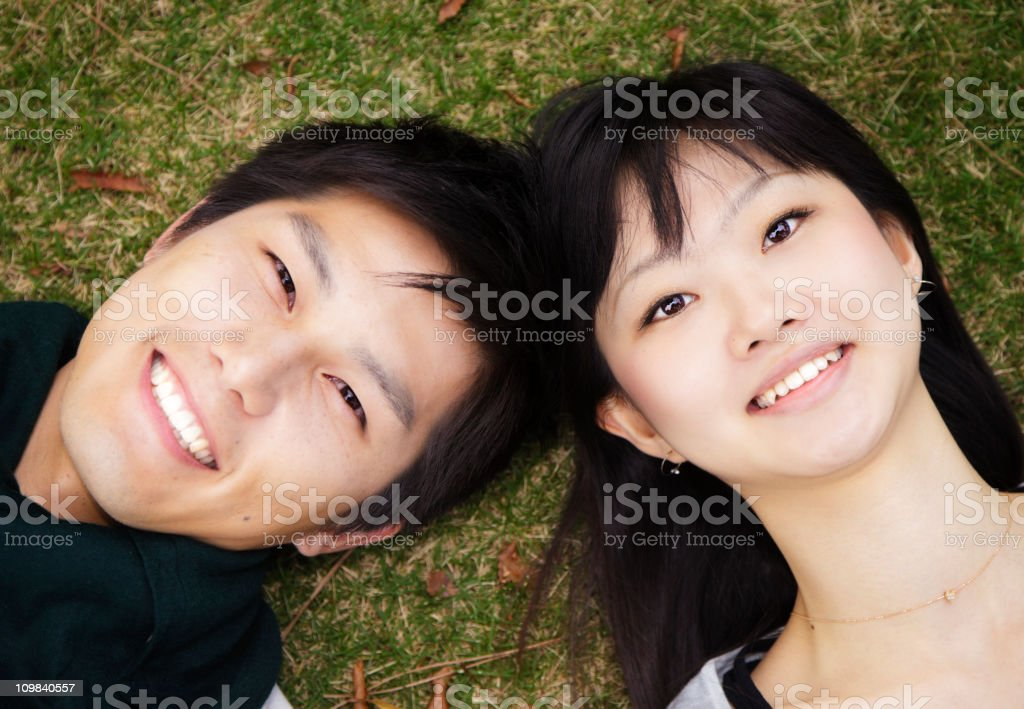 Young Japanese Couple Outdoors stock photo