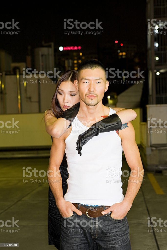 Young japanese couple with attitude royalty-free stock photo