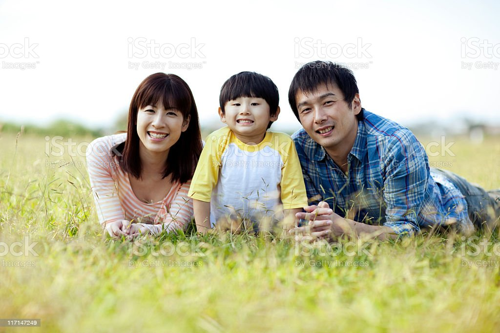 Young japanese family royalty free stock photo