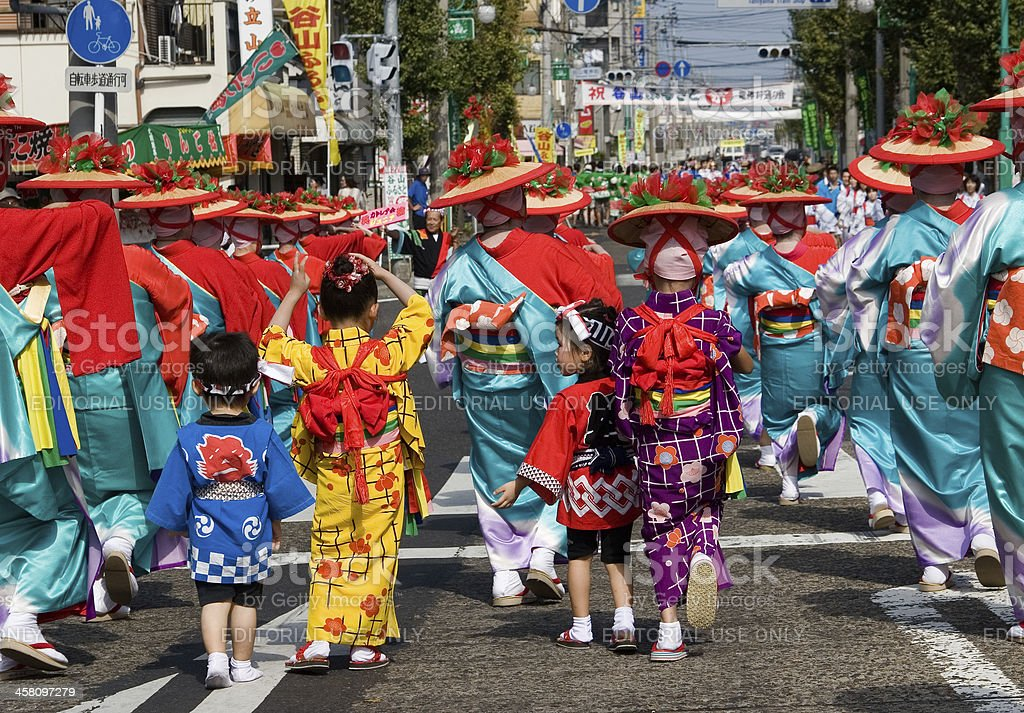 Young Japanese Festival Dancers in Kimono royalty-free stock photo