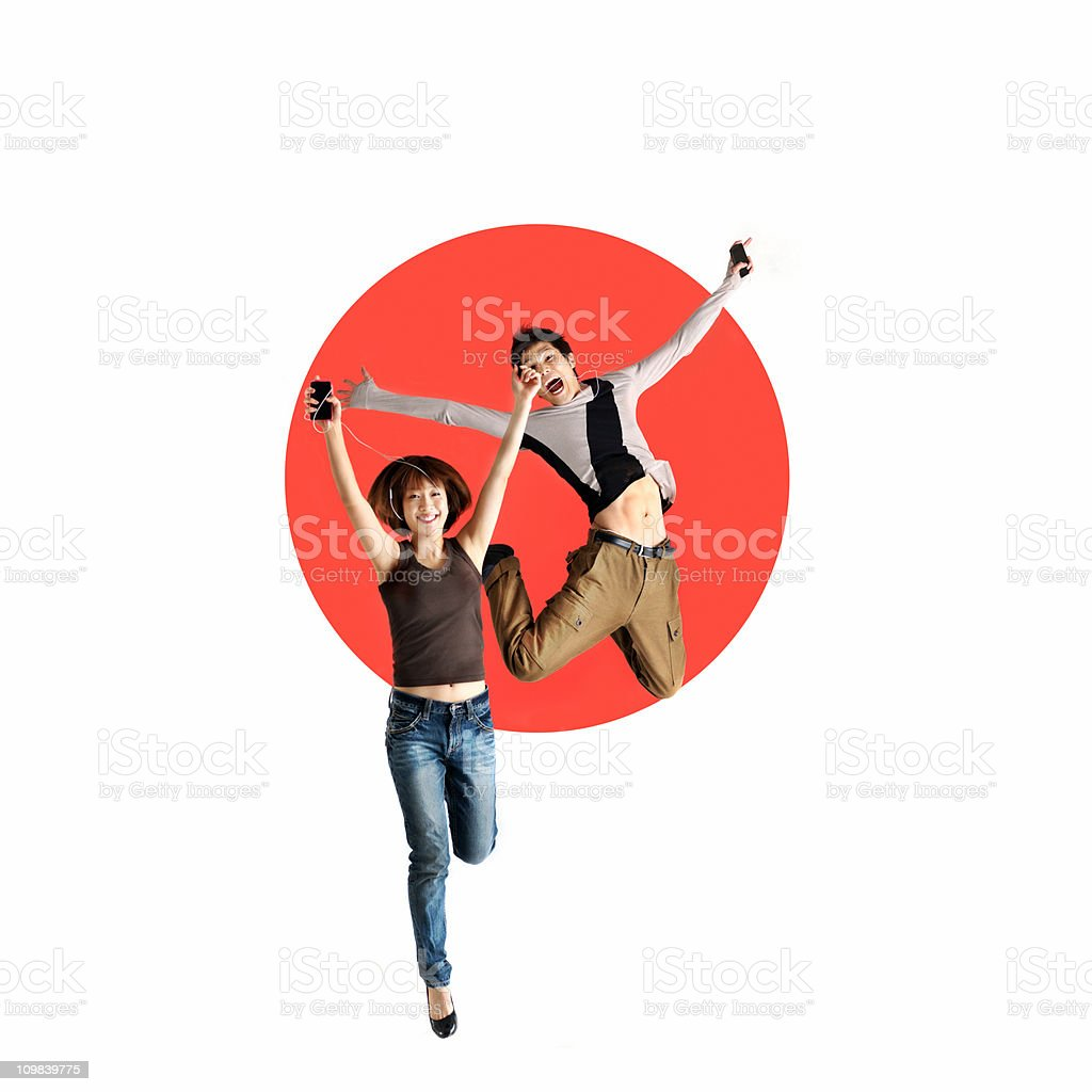 Young japanese jumping and dancing royalty-free stock photo