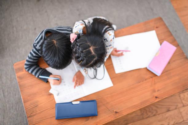 Junge japanische Schwester arbeitet mit Bruder an Hausaufgaben – Foto