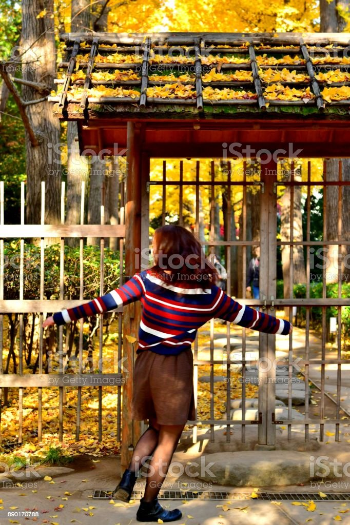 A young Japanese woman is jumping and swirling in front of the inner...
