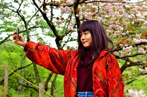 Ung Japansk Kvinna Tar Selfie Under Dubbla Kronblad Cherry Blossom-foton och fler bilder på 20-24 år