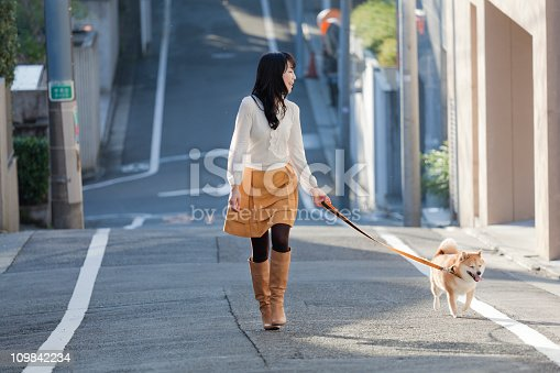 istock Young Japanese Woman Walking Leashed Shiba Inu Dog on Street 109842234