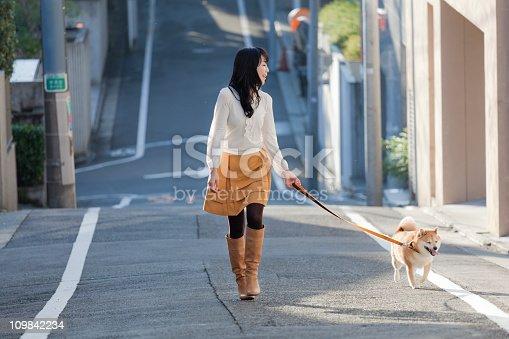istock Young Japanese Woman Walking Leashed Shiba Inu Dog on Street 109842234