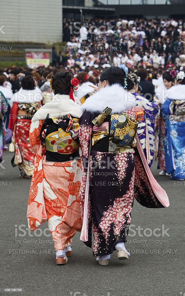 Young Japanese women in Kimono on Coming of Age Day stock photo
