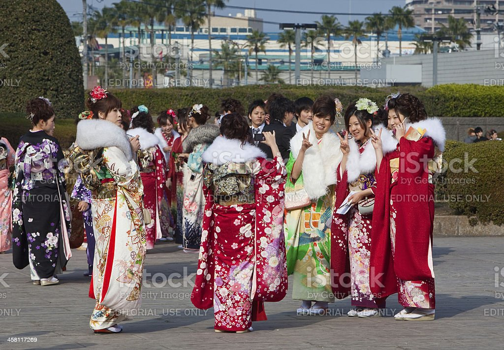 Young Japanese women in kimono on Coming of Age Day royalty-free stock photo
