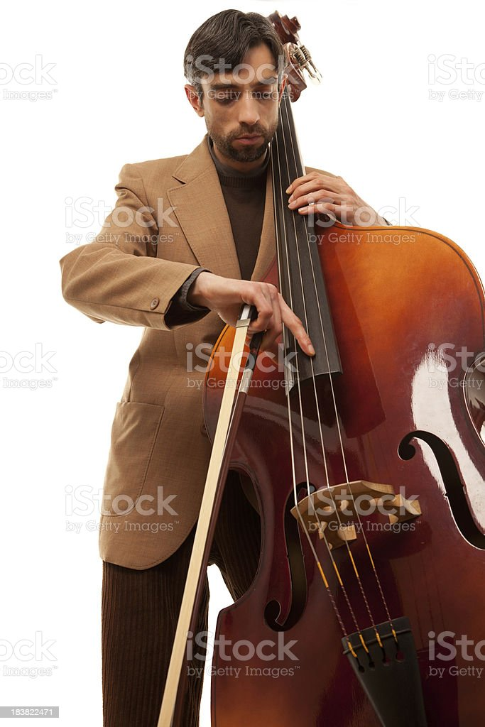 Young jazz musician playing bass (double bass) isolated on white stock photo