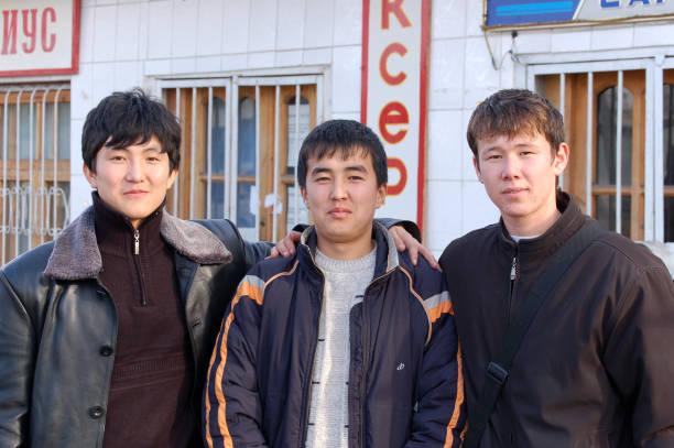 Young Kazakh Men stock photo
