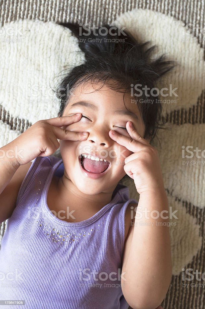 Young kid with crazy expression royalty-free stock photo