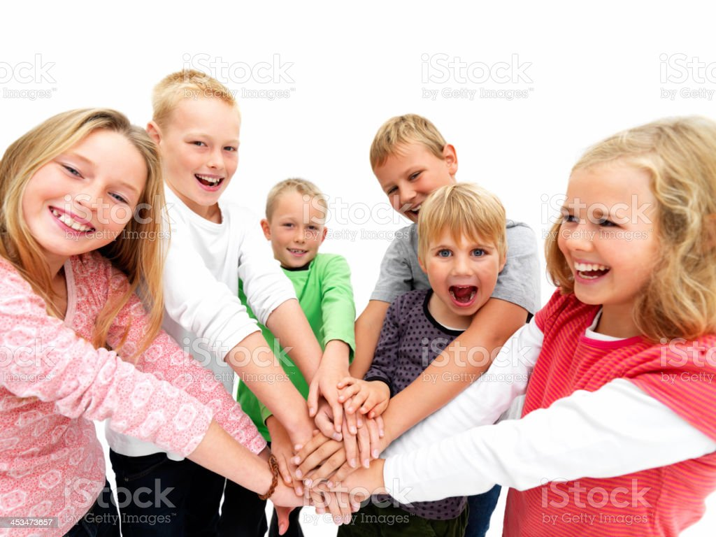 Young kids demonstrating togethernes stock photo