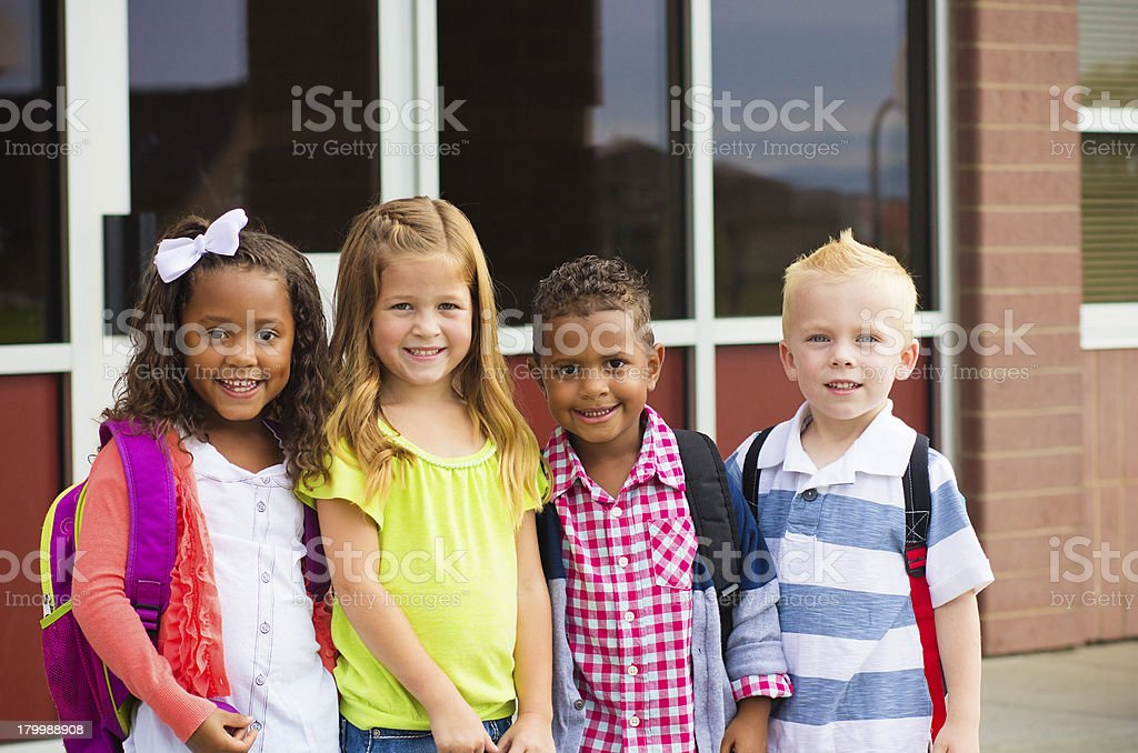 Young Kids going to School royalty-free stock photo