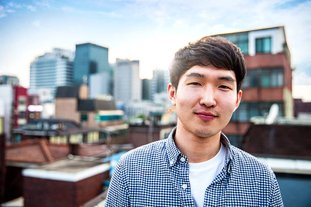Young korean man portrayed in Seoul, South Korea stock photo