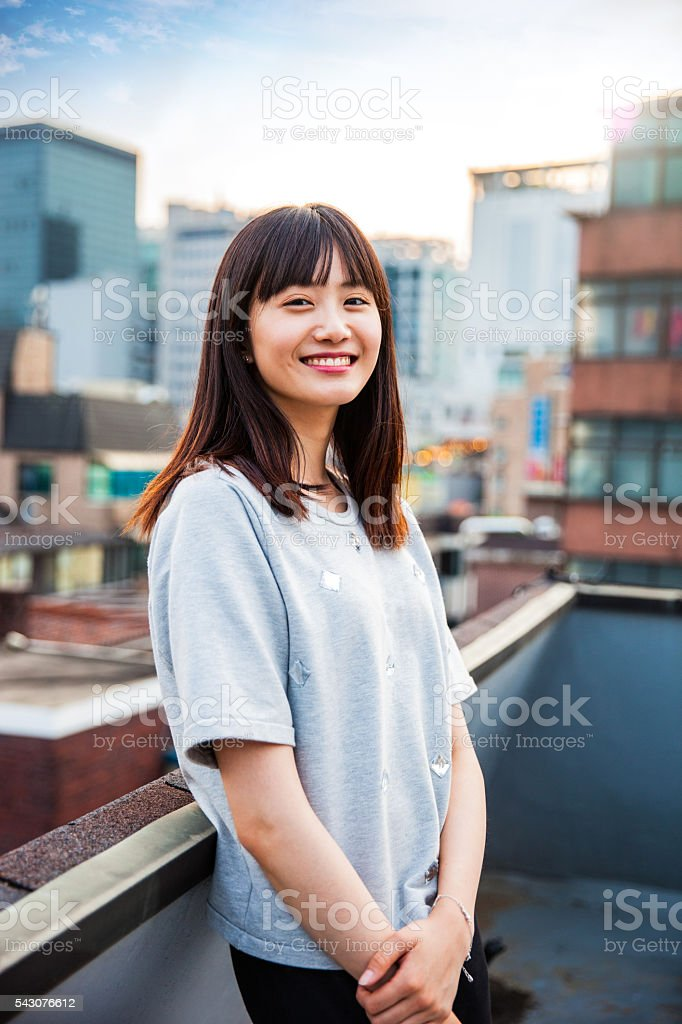 Young korean woman portrayed in Seoul, South Korea stock photo