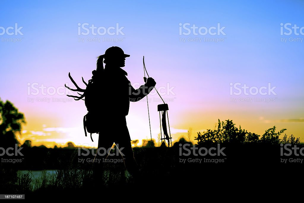 Young lady Bow Hunter stock photo