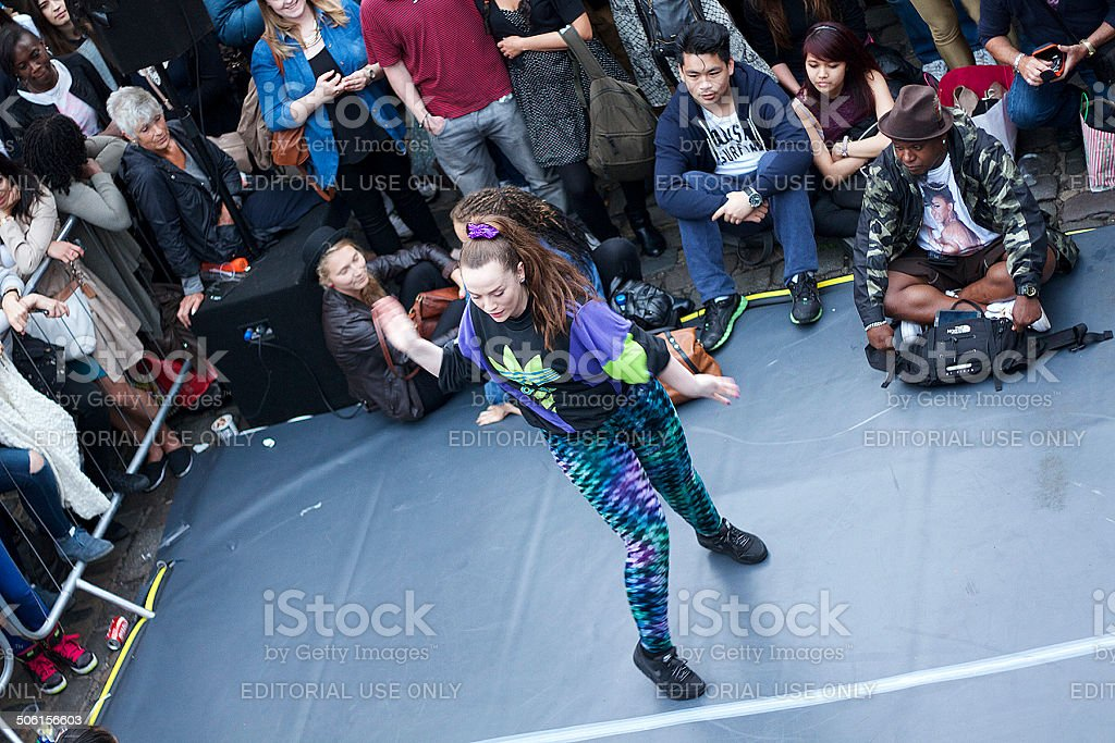 Young Lady Dancing in Camden stock photo