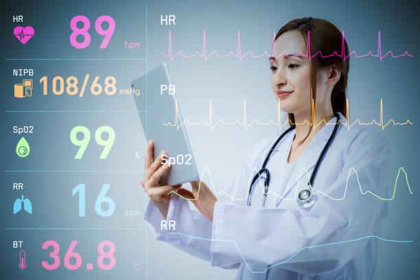 若い女性医師と様々 なバイタル サイン波形。医療技術コンセプト。 ストックフォト