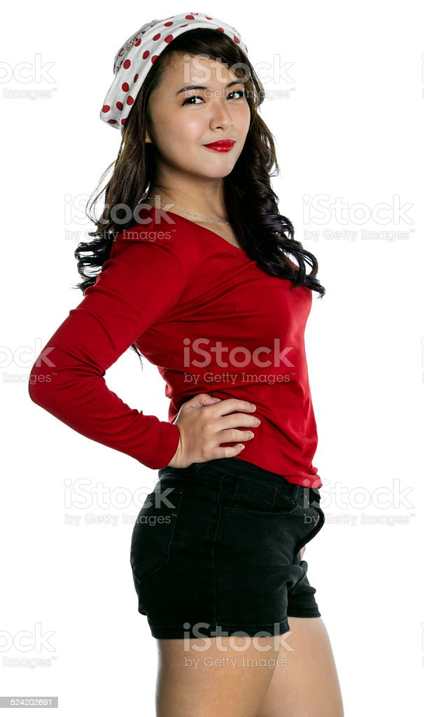 young lady dressed up for christmas stock photo