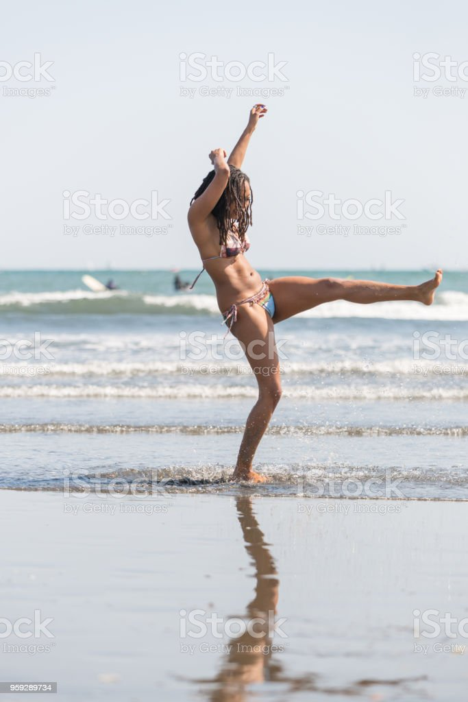 Young Lady Enjoying at the Beach stock photo
