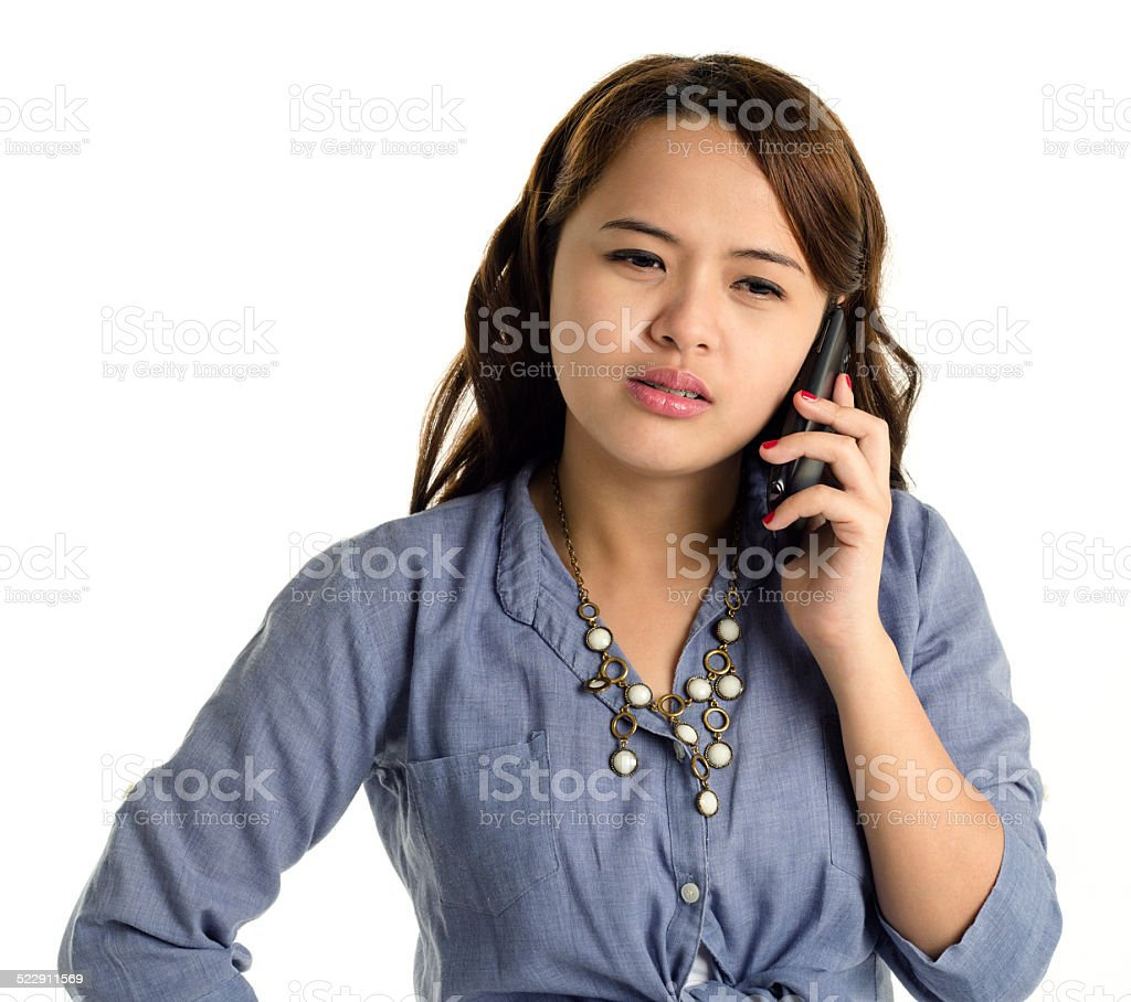 young lady holding a smartphone stock photo