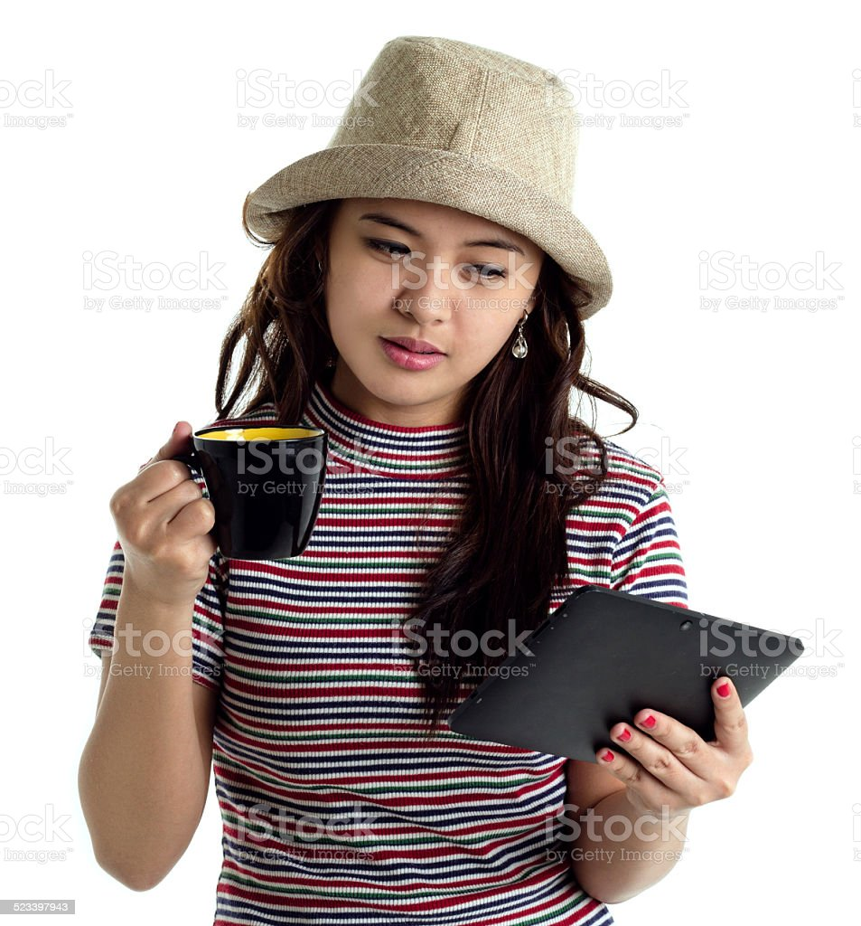 young lady holding a tablet stock photo
